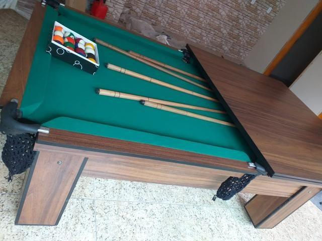 Mesa de Bilhar Tecido Verde Cor Tabaco Tx Modelo MDR0651 - Foto 6