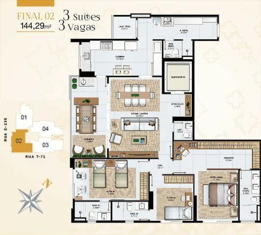 Cenarium Vaca Brava Apartamento 3 suítes plenas Setor Bueno - Foto 13