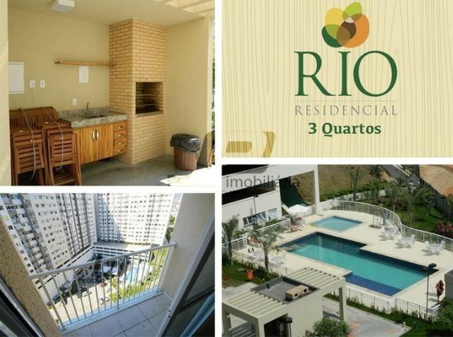Rio Parque com 3 quartos e lazer completo