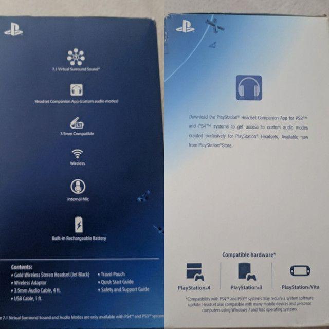 Fone de ouvido PlayStation Gold Wireless Stereo Headset 7.1 para PS4, PS3 e PS Vita.<br> - Foto 5