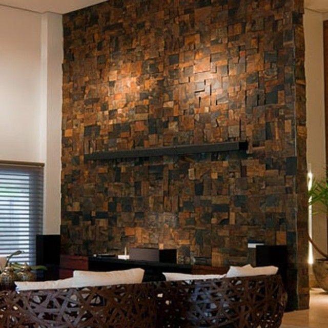 Mosaico de Pedra Ferro Basalto 3D Natural Ferrugiminoso Parede Promoção DoMeuGosto  - Foto 4