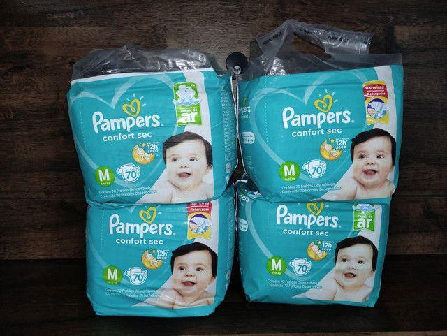 4 pacotes de fraldas Pampers confort sec M70 Promoção - Foto 3