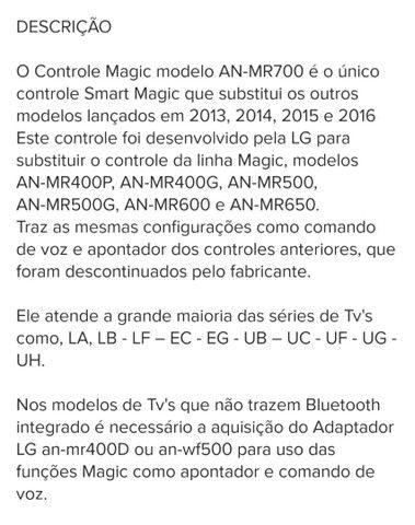 Controle Smart Magic LG An-Mr700 Tv's linha Lb Ll Ec Eg Uf Ug Uh - Foto 6