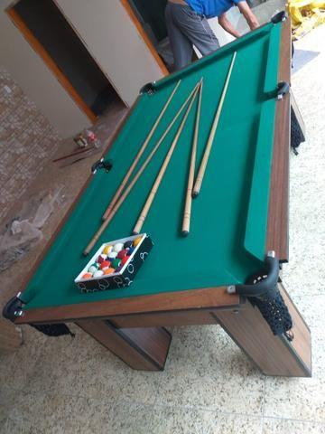 Mesa de Bilhar Tecido Verde Cor Tabaco Tx Modelo MDR0651