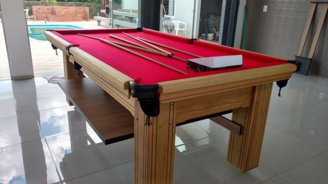 Mesa de Bilhar Maciça Cor Cerejeira Tecido Vermelho Pés Laterais Modelo THG4589 - Foto 3