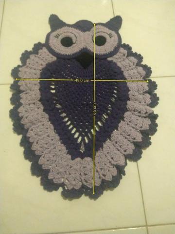 Tapete para banheiro Coruja em crochê kit 3 peças - Foto 4