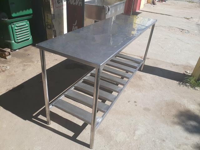 Mesa em aço inox 304 med 190 x 60 - Foto 4