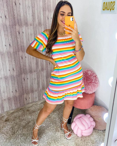 Vestido de listras em malha leila - Foto 2