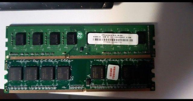 Dois pente de memória ram dd3 2gb cada