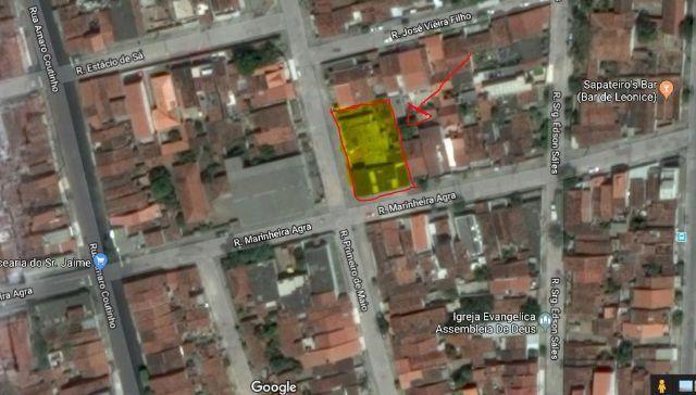 Terreno em esquina medindo 40,00 metros x 24,5 metros