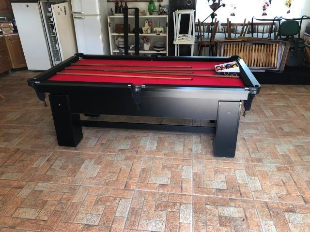 Mesa de Bilhar Tabelas Pretas Tecido Vermelho Cor Preta Tx Modelo DEQ3050 - Foto 2