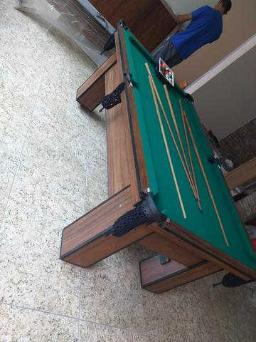 Mesa de Bilhar Tecido Verde Cor Tabaco Tx Modelo MDR0651 - Foto 2