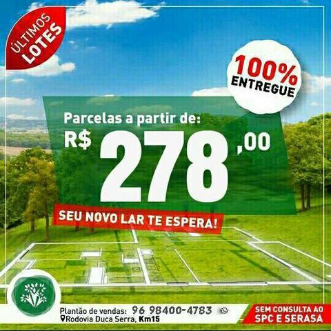 Lotes c/parcelas a partir de R$278,00 em Residencial fechado na Rodovia Duca Serra!!