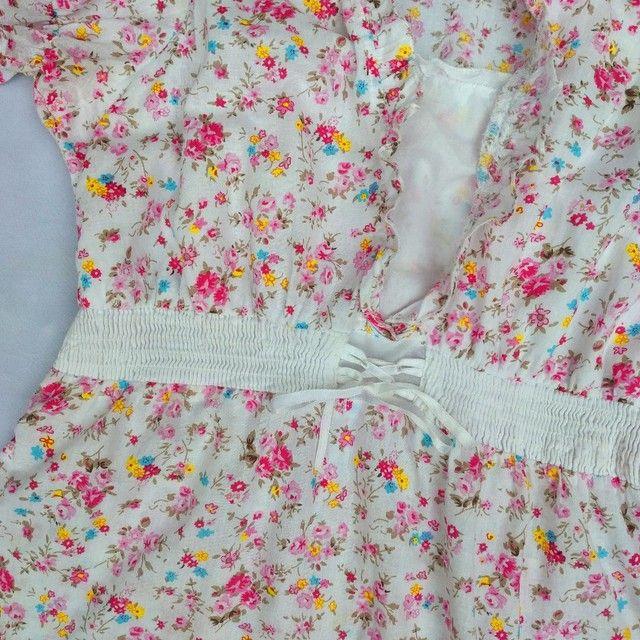 Blusa florida fofa manga bufante - Foto 3