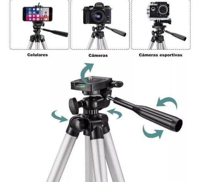 Tripé Universal Telescópico Para Câmera E Celular 1,02m - Foto 5
