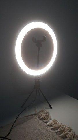 Ring Light 26cm + tripé de mesa + suporte para celular - Foto 4