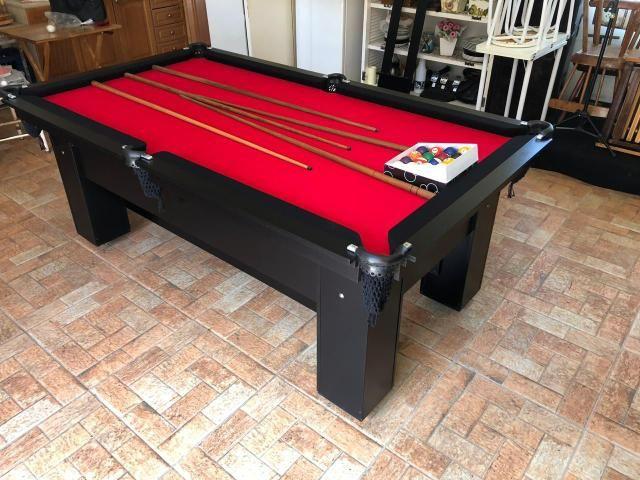 Mesa de Bilhar Tabelas Pretas Tecido Vermelho Cor Preta Tx Modelo DEQ3050 - Foto 6
