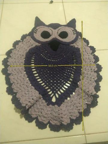 Tapete para banheiro Coruja em crochê kit 3 peças - Foto 3