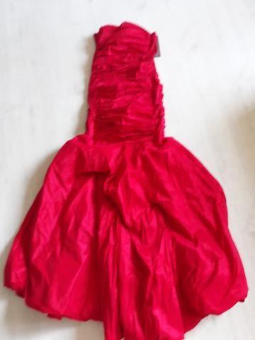 Promoção Vestido Longo Adulto vermelho em tafetá
