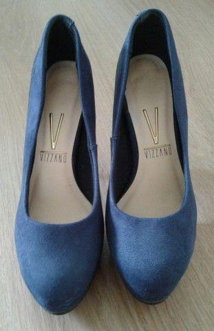 Sapato meia-pata azul nº 34 SEMI-NOVO