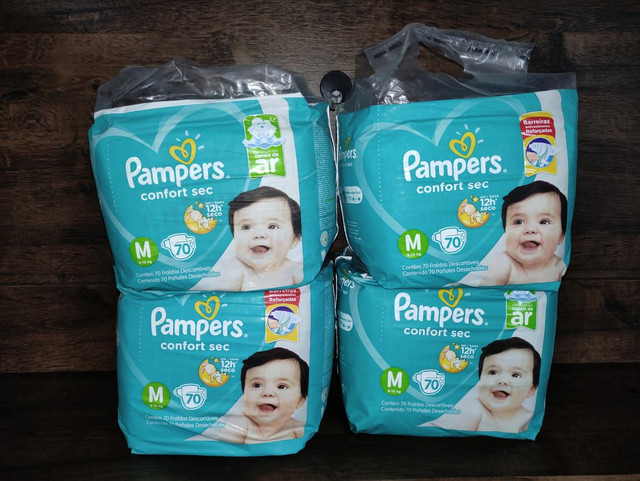 4 pacotes de fraldas Pampers confort sec M70 Promoção - Foto 4