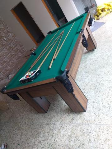 Mesa de Bilhar Tecido Verde Cor Tabaco Tx Modelo MDR0651 - Foto 5