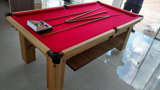 Mesa de Bilhar Maciça Cor Cerejeira Tecido Vermelho Pés Laterais Modelo THG4589 - Foto 6