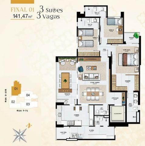 Cenarium Vaca Brava Apartamento 3 suítes plenas Setor Bueno - Foto 12
