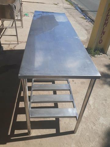 Mesa em aço inox 304 med 190 x 60