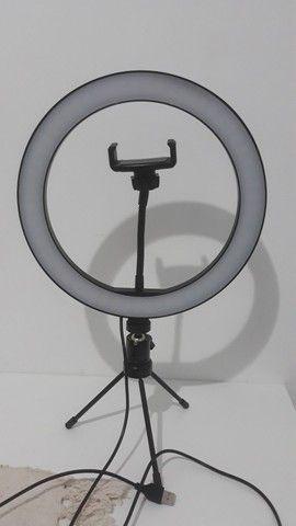 Ring Light 26cm + tripé de mesa + suporte para celular