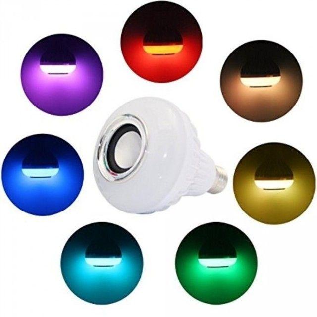 Lâmpada Led Musical Bluetooth RGB Caixa de Som Com Controle - Foto 2