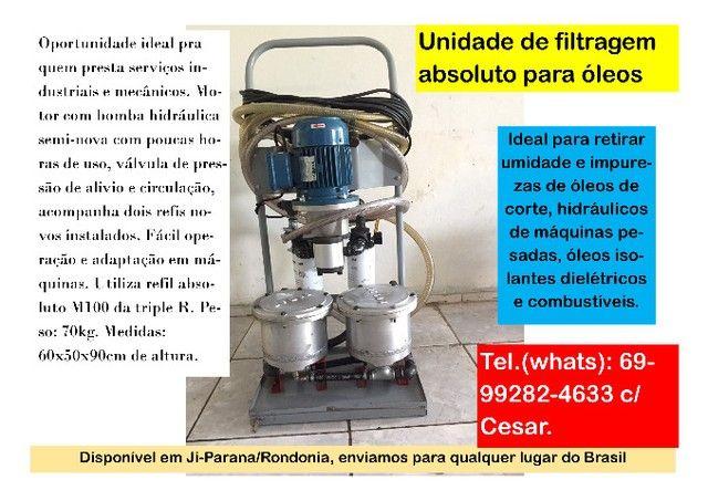 Recuperação de óleos hidráulicos - Máquina filtragem