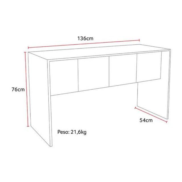 Mesa para Computador 136cm Branco Fosco - Foto 4