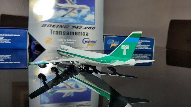 Miniatura de avião B.747-400 Transamerica  Escala 1.400 Gemini Jets - Foto 4
