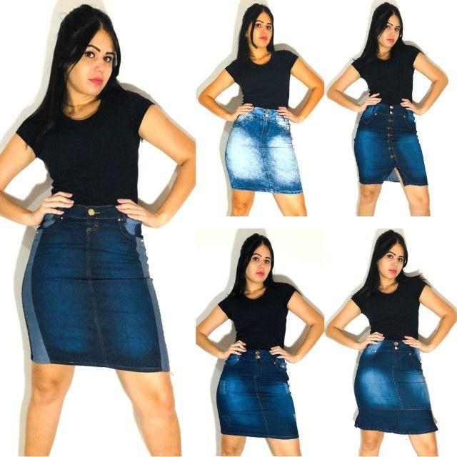 kit 5 saia jeans feminina - Foto 4