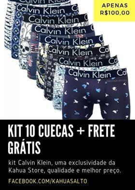 5b7850d84cbcbc Kit 10 Cuecas Calvin Klein + Frete Grátis no Estado de São Paulo