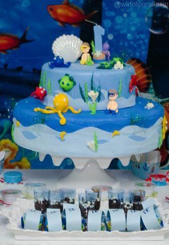 Alugo bolo fake tema fundo do mar