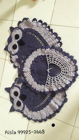 Tapete para banheiro Coruja em crochê kit 3 peças
