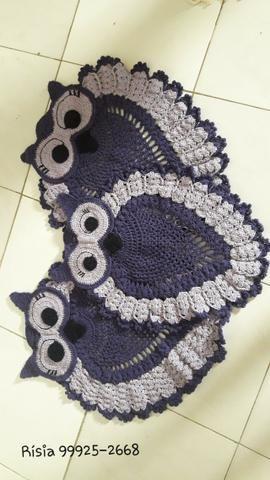 Tapete para banheiro Coruja em crochê kit 3 peças - Foto 2
