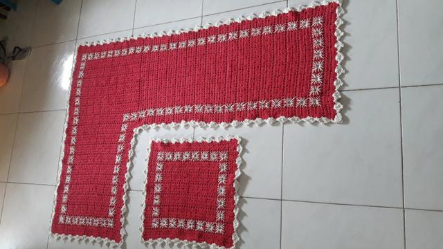 Tapete para cozinha formato L em croche - Foto 2