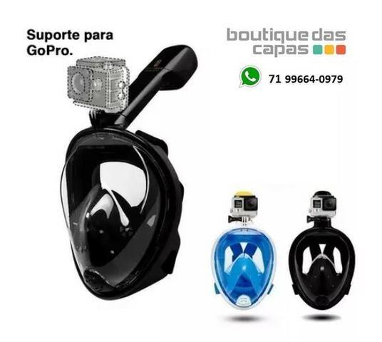 Mascara Mergulho Snorkel Com Suporte P/ Gopro Câmera De Ação - Foto 3
