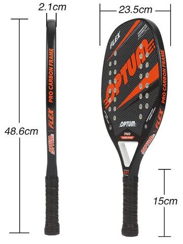 Raquete De Beach Tennis Optum Pro Flex 2020 - Carbon Frame - Preto e Laranja - Foto 3