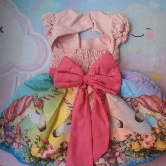 Vestido Unicórnio Rosa Vários Tamanhos - Foto 2