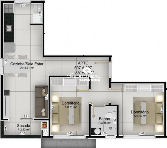 Apartamento à venda com 2 dormitórios em Nossa senhora do rosário, Santa maria cod:100439 - Foto 3