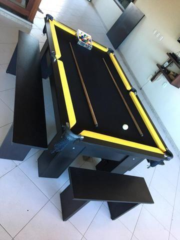 Mesa de Sinuca Cor Preta Tabelas Amarelas Modelo CRV6121 - Foto 4