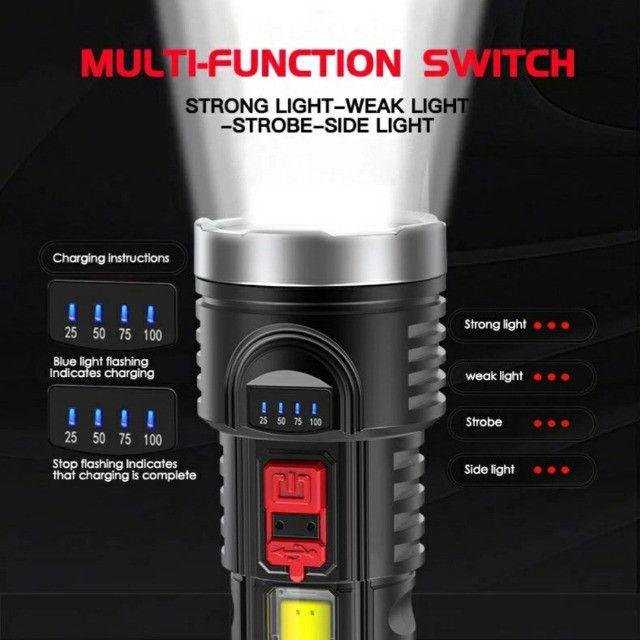 Lanterna Led Recarregável Claro Lateral Com Bateria Embutida - Foto 4