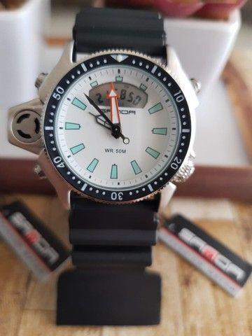 Relógio Sanda 3008 analógico e digital à prova d'água com pulseira e caixa reforçada - Foto 2