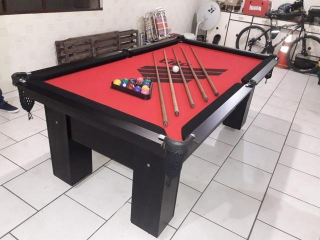 Mesa de Bilhar Personalizada Atlético Tecido Vermelho Modelo CAP4332