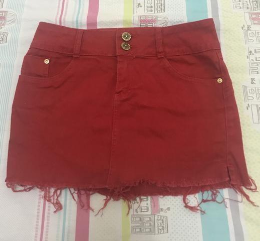 Saia Jeans vermelha