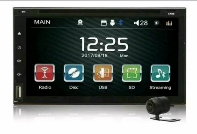 "Central Multimídia Tela 7"" Full HD Rádio Bluetooth Usb Sd Voolt Câmera De Ré Grátis"